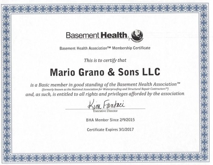 ... Basement Health Association Mario Grano And Sons LLC Scan 2
